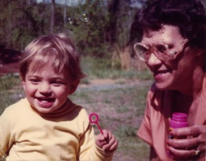 Taken in May 1983. My mother and my son enjoy blowing bubbles.