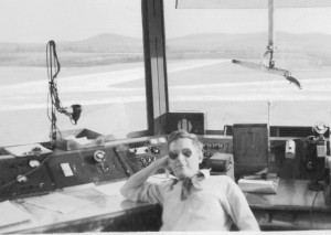 Frank in a control tower early 1950's